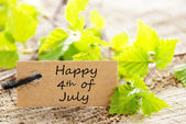 Leaves with Happy 4th of July — Stock Photo