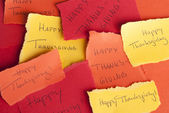 Memos with Happy Thanksgiving — Stock Photo