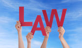 Hands Holding Law in the Sky — Stock Photo