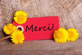 Red Tag with Merci — Stock Photo