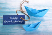 Blue Banner with Happy Thanksgiving — Stock Photo