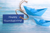Blue Tag with Happy Thanksgiving — Stock Photo
