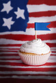 Cupcake with Blue Flag — Stock Photo