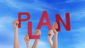 Hands Holding Plan in the Sky — Stock Photo