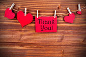 Thank You on a Tag with Hearts — Stock Photo