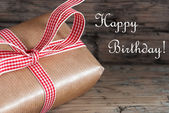 Rustic Present with Happy Birthday — Stok fotoğraf