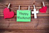 Green Tag with Happy Weekend — Stock Photo