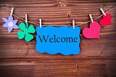 Tag with Welcome on a Line — Stock Photo
