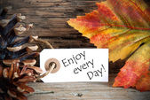 Autumn Label with Enjoy every Day — Stock Photo