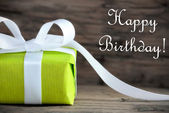 Green Gift with Happy Birthday — Zdjęcie stockowe