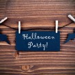 Black Label with Halloween Party on Wood — Stock Photo #50636857