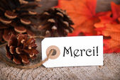 Autumn Label with Merci — Stock Photo