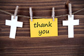 Yellow Label with Thank You — Stock Photo