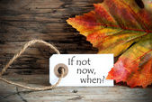 Fall Label with the Words If not now, when on it — Stock Photo