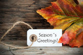 Fall Label with Seasons Greetings — Stock Photo