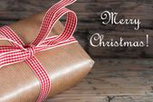 Christmas Present with Merry Christmas Text — Stock Photo