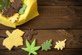 Autumn Cookies on Wooden Background — Foto Stock