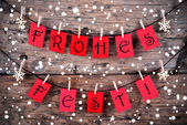 Snowy Christmas Background with the Words Frohes Fest — Stock Photo