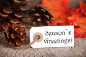 Autumn Label with Seasons Greetings — Stock Photo