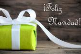 Green Gift with Feliz Navidad — Stock Photo