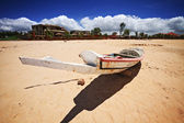 Boat on Saly beach in senegal — Stock Photo