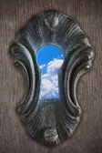 Sky in a keyhole — Stock Photo