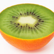 Kiwi inside orange peel — Stock Photo #14938565