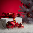 Stock Photo: Red ball and gift