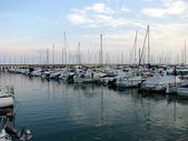 Group of sailboats moored — Stock Photo