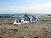 The Pyramids in beach at sunset — Stock Photo