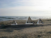 The Pyramids in beach at sunset ll — Stock Photo