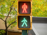 Pedestrian traffic lights green and red light — Stock Photo