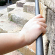 Hand Grasps Stainless Steel Railing — Stock Photo