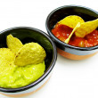 Mexican nachos and salsa dip — Stock Photo