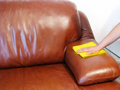Brown sofa cleaning — Stock Photo