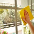 Women cleaning a window — Stock Photo