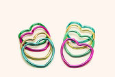 Group of multicolored hearts decoration — Stock Photo