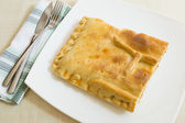 A bread pie filling with tunna and vegetables - empanada gallega — Stock Photo