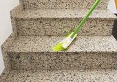 Brush cleaning the stairs marble — Stock Photo