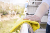 Cleaning metal Railing — Stock Photo