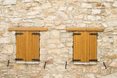 Two closed wooden windows — Stok fotoğraf