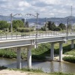 Railway bridge high speed on river — Stock Photo #25043337
