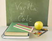 """vuelta al cole"" with healthy food — Stock Photo"