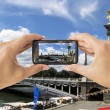 Camera mobile at Pont Alexandre III bridge — Stock Photo #31923075