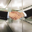 Shaking hands in office — Foto Stock