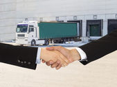 Handshake on logistics — Stock Photo