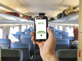 Connect wifi on the train — Stock Photo