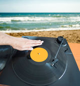 DJ mixing beach — Photo