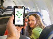 wifi on the airplane — Stock Photo