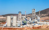 Concrete mixing plant stack for cement and sand — Stock Photo